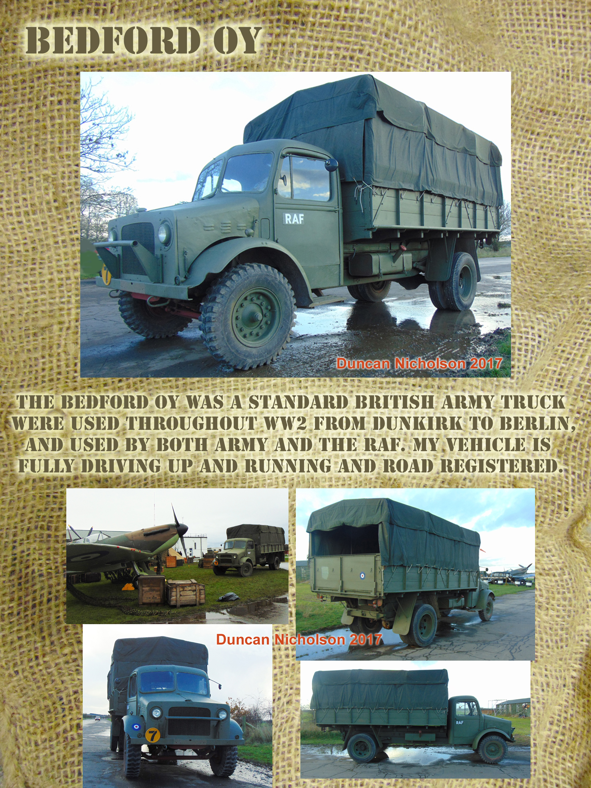 Bedford OY British WW2 Army Truck for hire details