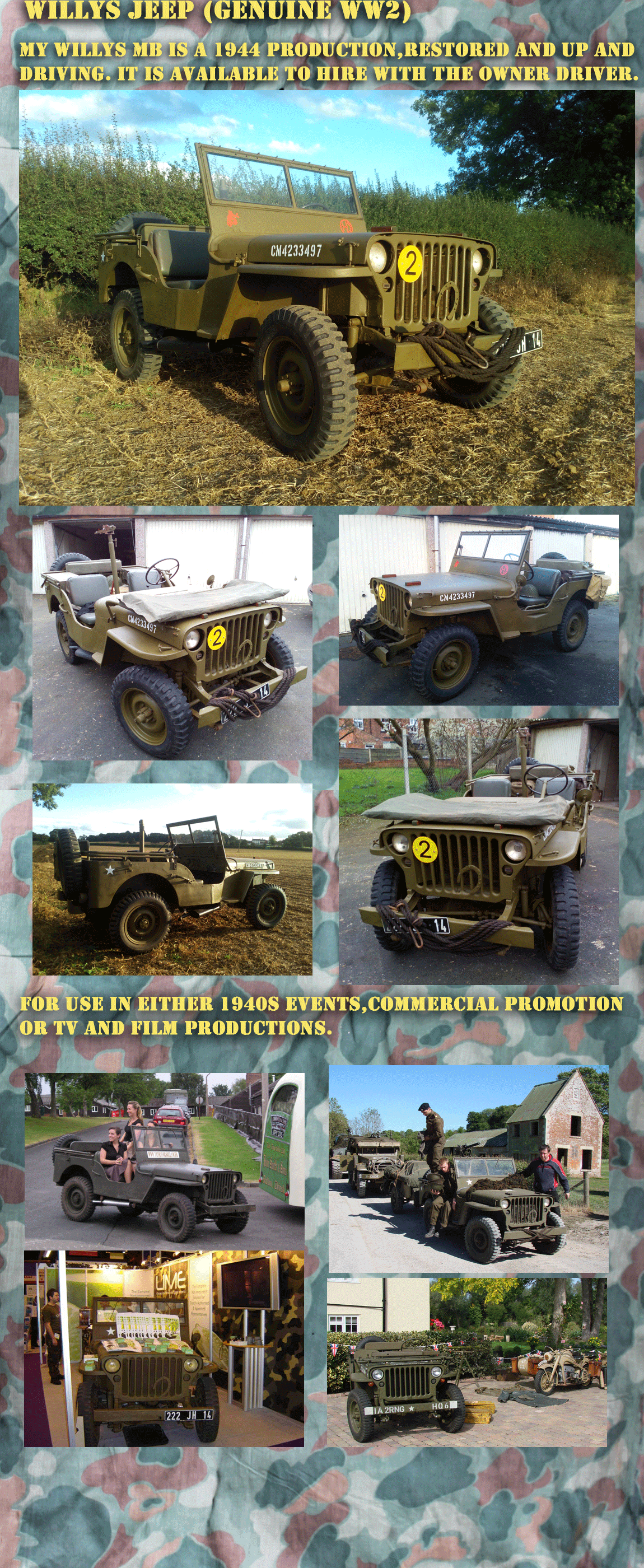 Willys Jeep WW2 USA for hire